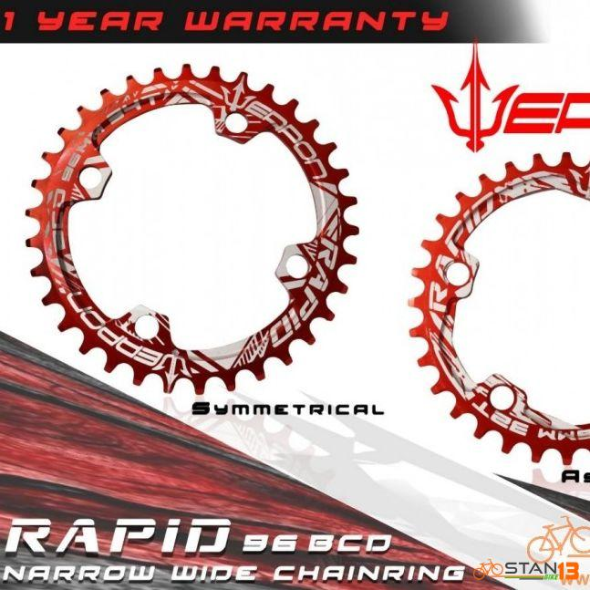 Chainring Weapon Narrow Wide Chainring 1 Year Warranty 96 and 104 BCD