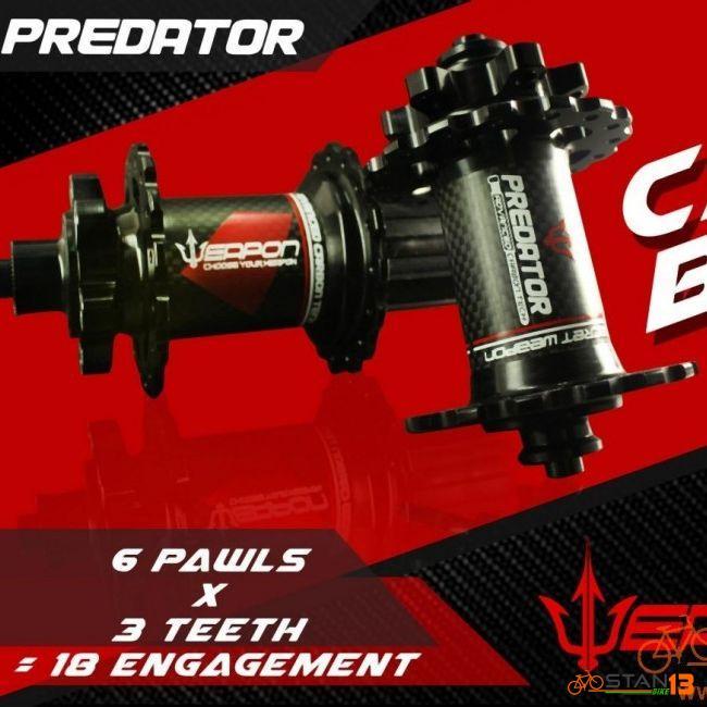 Hub Weapon Predator CARBON Hubs Sealed Bearing 6 Pawls 3 Teeth 1 Year Warranty