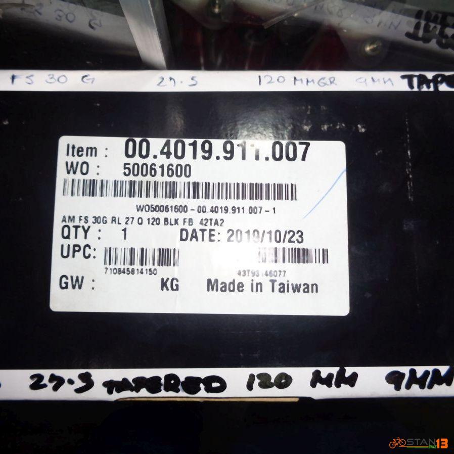Fork Rockshox 30G RL 27.5 Tapered 120mm 9mm QR 2020 Air Fork